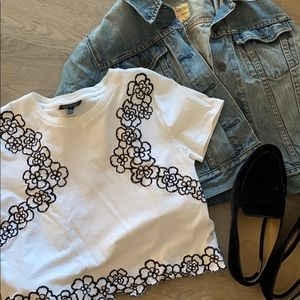 Topshop White Crop Top with Embroidered Flowers